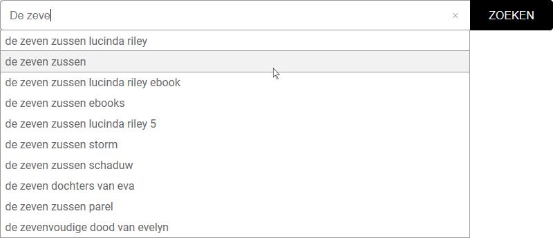 Voorbeeld zoeksuggesties bij het zoeken van een boektitel