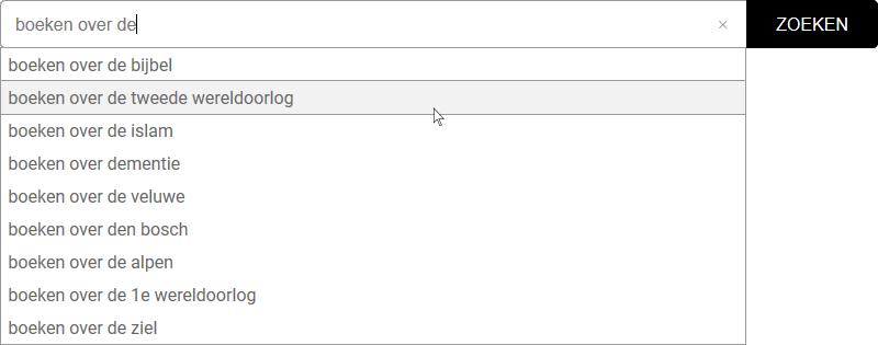 Voorbeeld van zoeksuggesties bij het zoeken van een boek op onderwerp