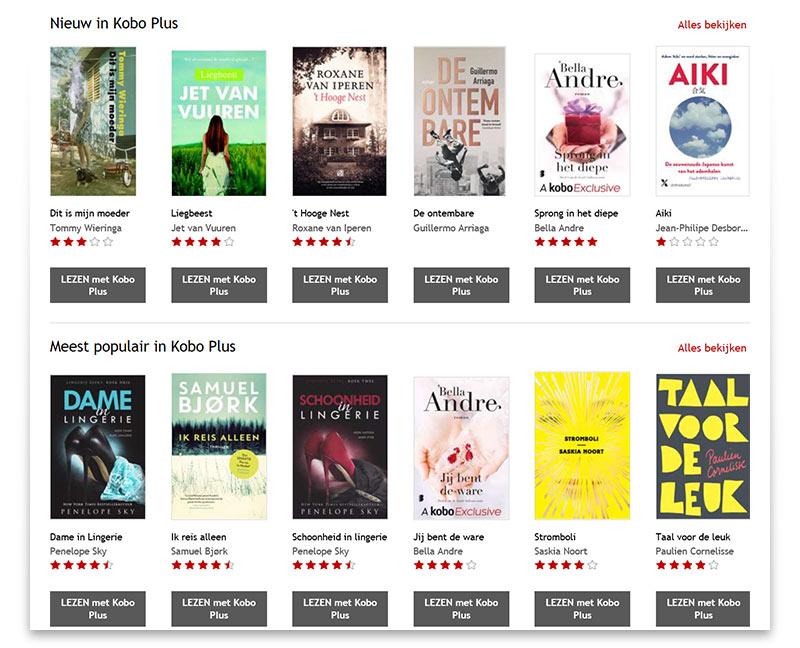 Afbeelding Kobo Plus nieuwe boeken en populaire boeken