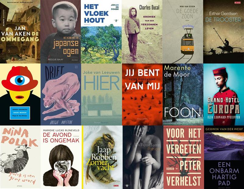 Afbeelding met alle omslagen van de longlist van de Libris Literatuur Prijs 2019