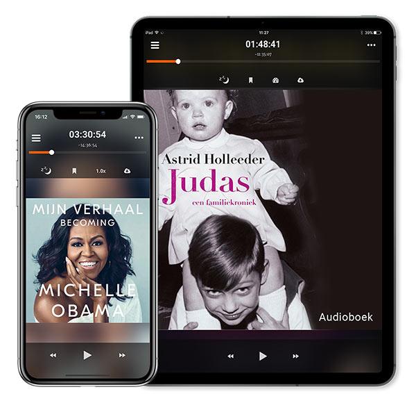 Afbeelding van Storytel op een telefoon en tablet.